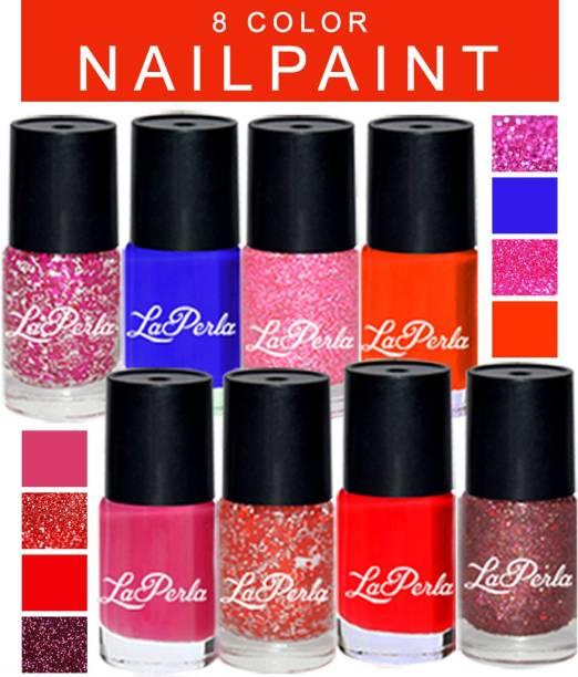 La Perla Nail Paint Pack of 8 Multicolor