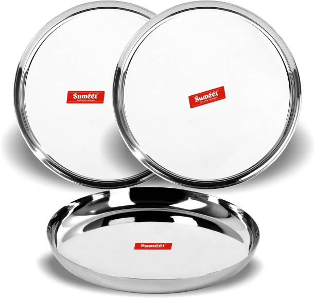 Sumeet Stainless Steel Shape Heavy Gauge Dinner Plates with Mirror Finish 27cm Dia - Set of 3pc Sectioned Plate