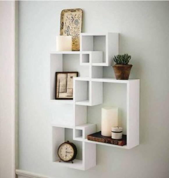OnlineInitiative OnlineInitiative Amazing Interconnected & Hexagon Wall Shelf (White) MDF (Medium Density Fiber) Wall Shelf