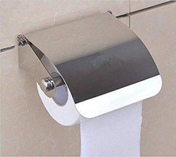 SBD Stainless Steel Multipurpose Bathroom Toilet Tissue Paper Napkin Holder (Easy Refill with Lid Small) Steel Toilet Paper Holder