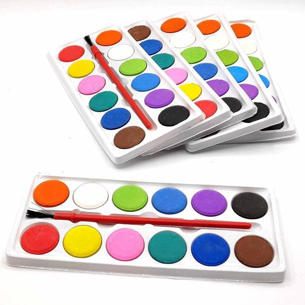 ARVANA Watercolor Pen Set Online for Kids Sketch Painting Kit Colors with Artist Paint Brush Birthday Party Return Gifts for Kids(Pack of 6)