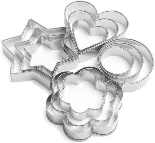 ALPHA CREATION 12Pcs Set of Stainless Steel Cookie Cutters Heart Flower Round Star Shapes Biscuit Mold Cookie Cutter (Pack of 12) Cookie Cutter