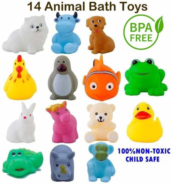 hinik Chu Chu Bath Toys 14Pc Non-Toxic Plastic Animal Shape Soft for Kids Bath Toy