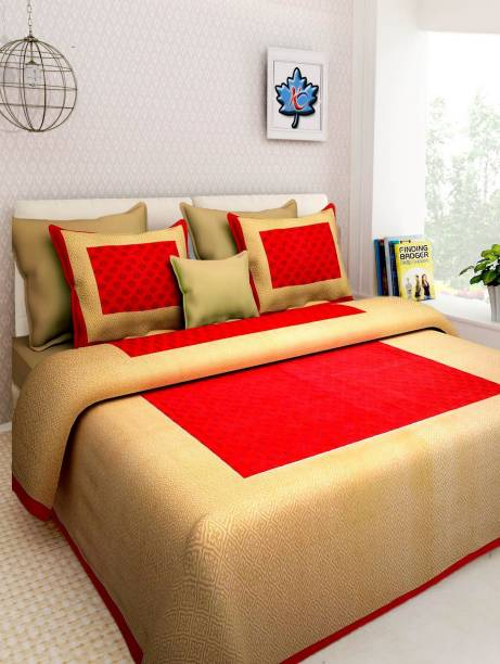 E ELMA 104 TC Cotton Double Jaipuri Prints Bedsheet