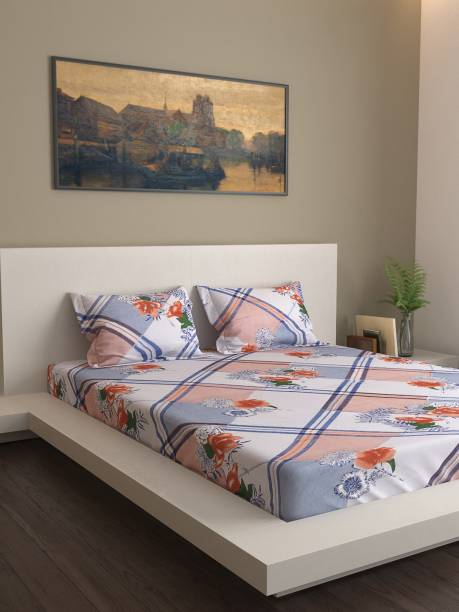 Country Home 120 TC Cotton Double Floral Bedsheet