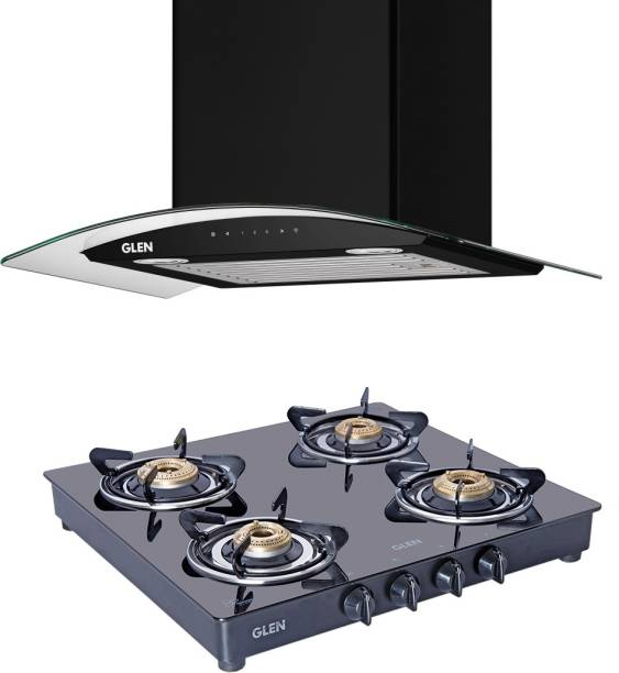 Glen 6063AC60+Cooktop 1043BB Combo BL Auto Clean Wall Mounted Chimney
