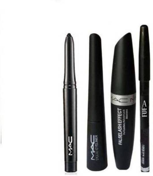 FUFA Eyebrow Pencil Black & Liquid EyeLiner & Mascara & KaJal ( 4in1) (4 Items in the set)