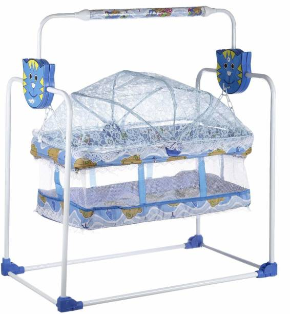 NHR Cozy New Born Baby Cradle, Baby Swing, Baby jhula, Baby palna, Baby Bedding, Baby Bed, Crib, Bassinet with Mosquito Net for 0-9 Months (Blue)