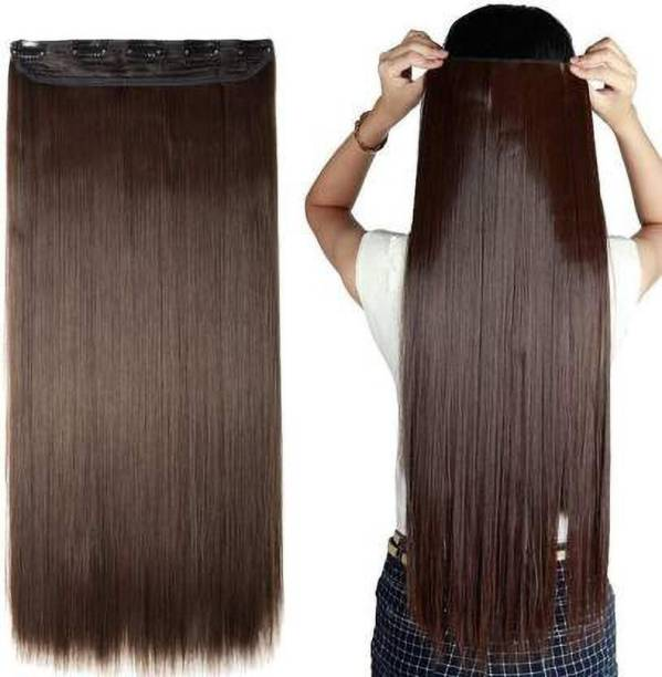 Vedica 5 Clip Stylish Best Quality Brown Straight  Extension/ Accessories Hair Extension