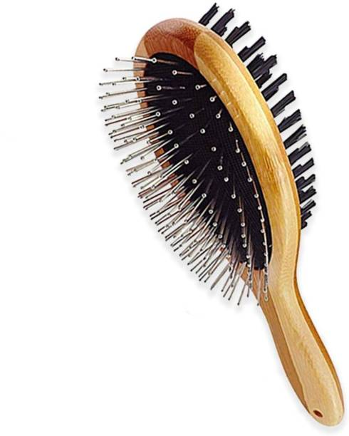 PetVogue Pet Comb, Professional Double Sided Pin & Bristle Bamboo Brush for Dogs & Cats, Grooming Comb Cleans Pets Shedding & Dirt for Short Medium or Long Hair Wire-pin Brushes for  Dog, Cat