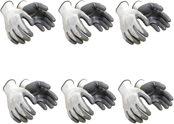 KOISA Superior quality (6 pair) anti cut safety hand gloves pvc coated gray white Nylon  Safety Gloves