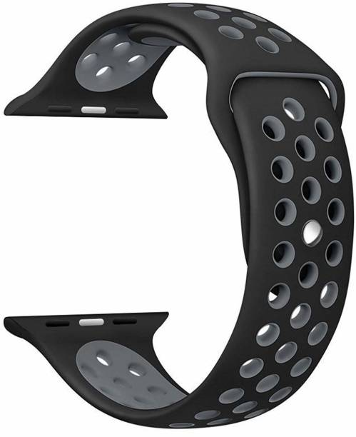 Tingtong Soft Silicone Sport Strap Band for iWatch 42mm/44mm, Compatible with Watch Series 1/2/3/4/5 T_42/44mm_Black&GreyHole(Silicon) Smart Watch Strap