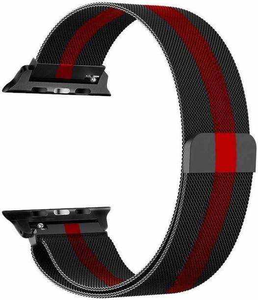 Tingtong Stainless Steel Milanese Strap Band with Magnetic Closure for iWatch 42mm/44mm, Compatible with Watch Series 1/2/3/4/5 T_42/44mm_BlackWithRed(Chain) Smart Watch Strap