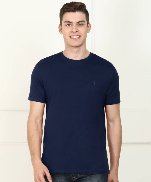 Billion Solid Men Round Neck Dark Blue T-Shirt