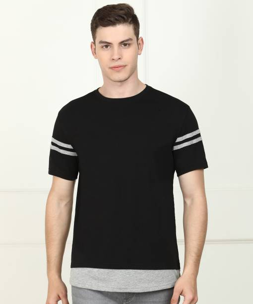 Billion Solid Men Round Neck Black T-Shirt