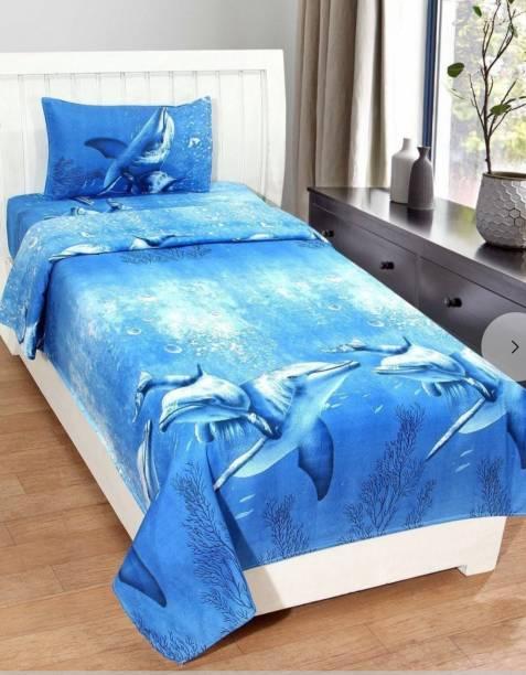 Lucky Decor Home 180 TC Microfiber, Cotton Single 3D Printed Bedsheet