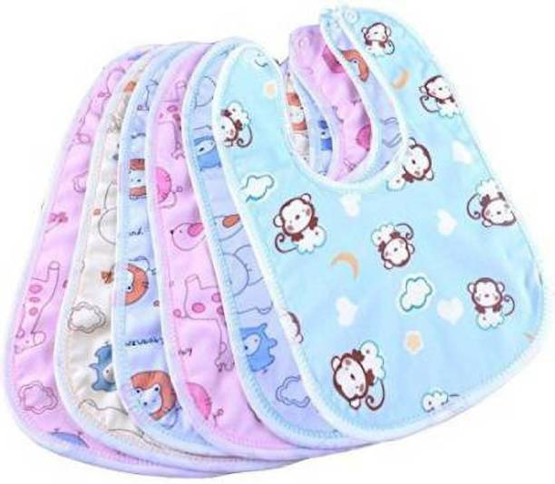 little monkeys Water-proof, Super Soft Cotton bibs, attached by button (pack of 6)