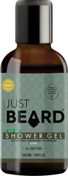 Enorgen JUSTBEARD Men Natural Aloe Vera Shower Gel -100% Natural Authentic Ayruvedic Shower Gel for Men | Men Shower Gel with Skin Conditioners (SLS & Chemical Free)