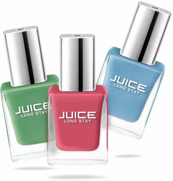 Juice Nail Polish combo 3 Pickle Green - 267, Sky Blue - 268, Coral Sunset - 292