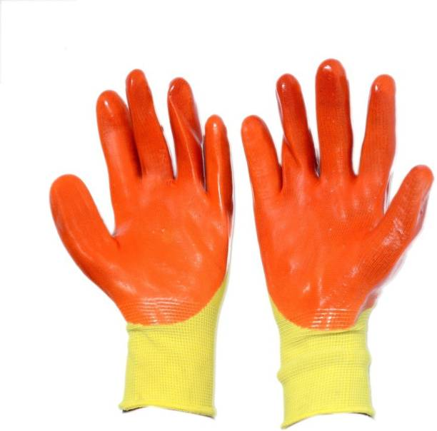 KOISA Superior quality ( 10 pair) rubber coated anti cut safety hand gloves orange Nylon, Rubber  Safety Gloves