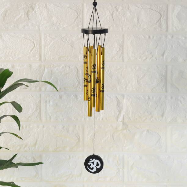 Ryme Vastu / Feng Shui Om Wind Chimes Metal Rods / Pipes for Home Decorative Showpiece  -  42 cm