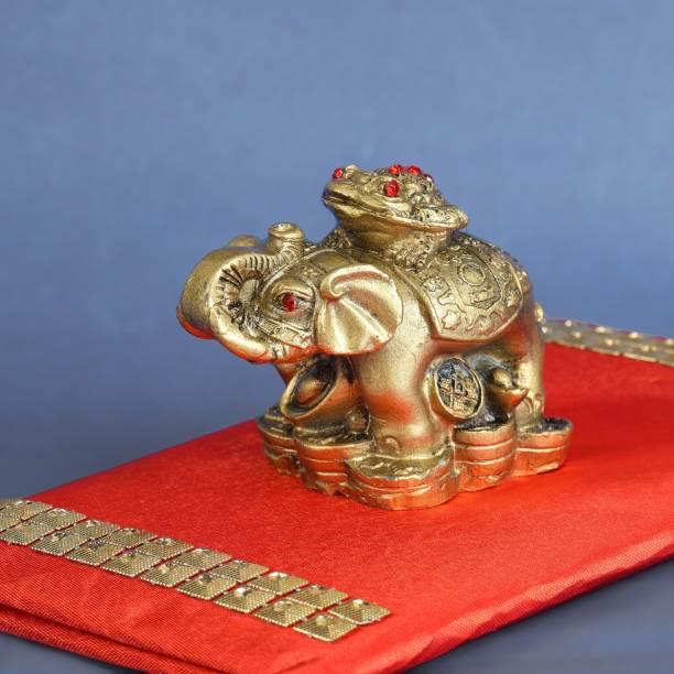 Ryme Vastu / Feng Shui Golden Frog on Elephant Ingot Coins for Luck, Health and Wealth Decorative Showpiece  -  15 cm