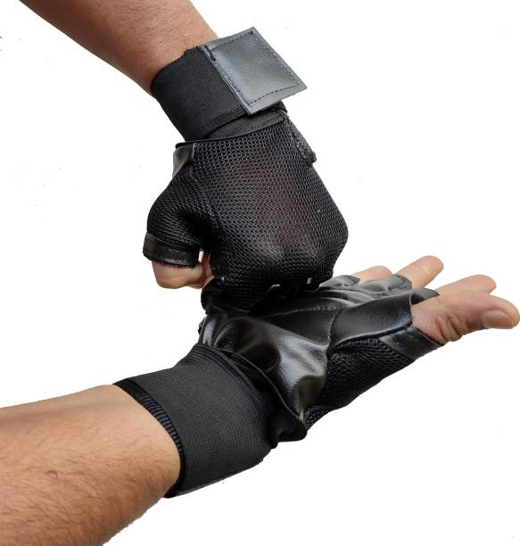 DreamPalace India GYM GLOVES, Gloves for gym, Leather Gym Gloves, Wrist Support, Workout Gloves Gym & Fitness Gloves