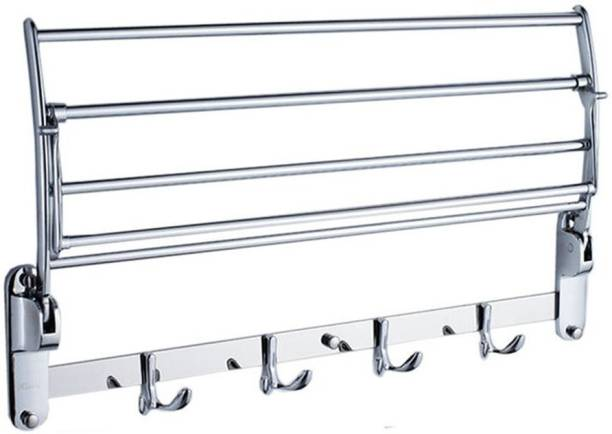 "Capital Stainless steel folding towel rack hanger 24"" inch chrome finish silver folding towel holder Silver Towel Holder"