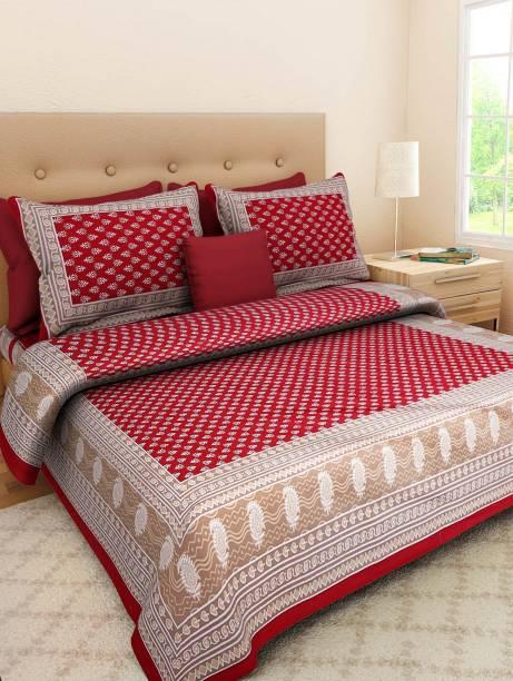 E ELMA 210 TC Cotton Double King Jaipuri Prints Bedsheet