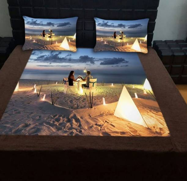 Shivaay Creations 160 TC Velvet Double King, Double 3D Printed Bedsheet