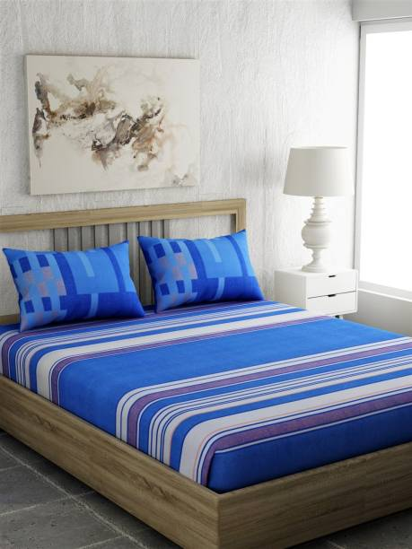 PORTICO NEW YORK 144 TC Cotton Double King Striped Bedsheet
