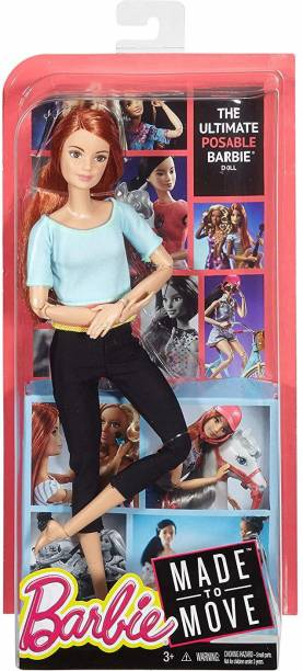 BARBIE Made To Move Doll, Light Blue Top