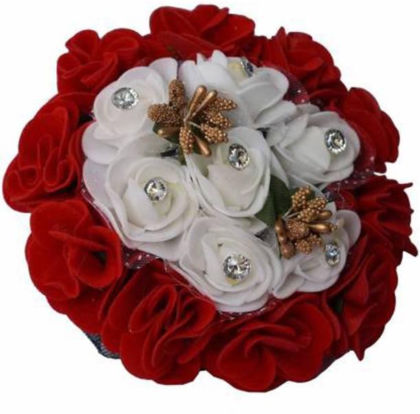 VinshBond Full Gajra Bun Hair Flower Gajra Artificial flower gajra Hair Accessories, Red & White pack of 1 Bun