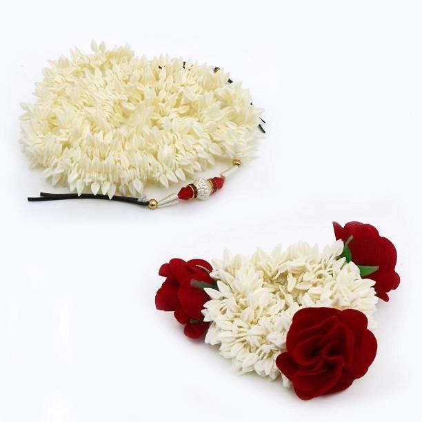 sheetal traders 2 Hair Gajra (1 Band Gajra+1 Long Pin Gajra 38 inch) Artificial Hair Gajra Flowers For Wedding Hair Veni Red Rose With White Flower) Bun