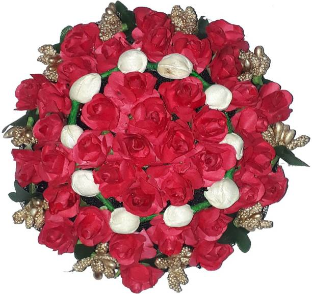 AROOMAN ™ Hair Full Bun Gajra Flower Artificial Juda Accessories for Women in Multicolor (Pack-01) Bun