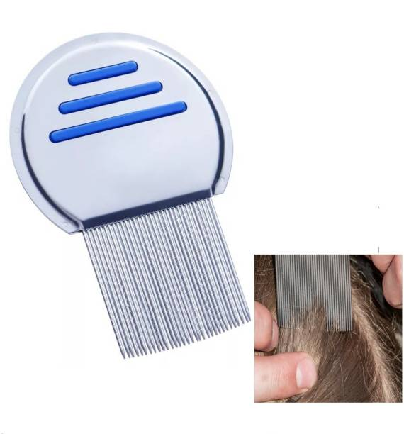 MAKHAI Stainless Steel Comb for Head Lice, Nit & Egg Removal with Long Fine Metal Teeth Brush-School kids & Women