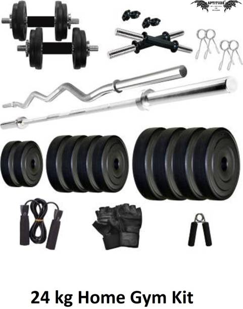 APTITUDE 24 kg PVC-WL-WEIGHT-WITH-Straight-and-curl-rod Home Gym Kit Home Gym Combo
