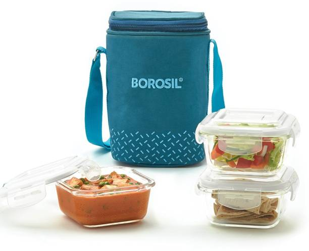 BOROSIL Glass Lunch Box, set of 3, 320 ml square- Sky 3 Containers Lunch Box