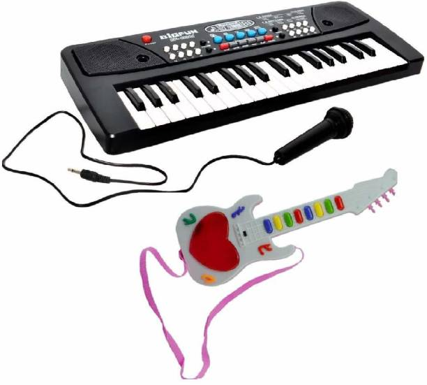 Kmc kidoz Combo of 37 Key Piano Keyboard Toy with DC Power Option, Recording and Mic with Musical Mini Guitar 3D Lighting for Kids