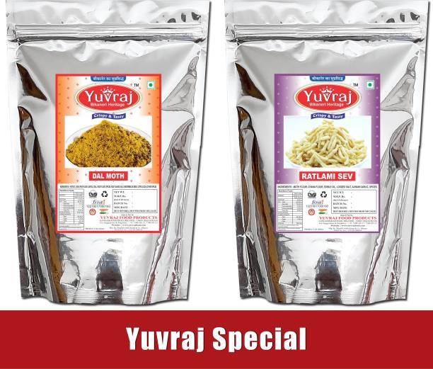 Yuvraj Food Product Bikaneri Premium Quality Dal mooth mixture & Ratlami mixture combo pack of 2 (400 Gm *2 )