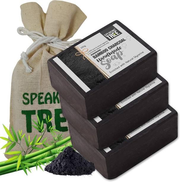 Speaking tree Deodorizing Bamboo Charcoal Handmade Soap - Pack of 3