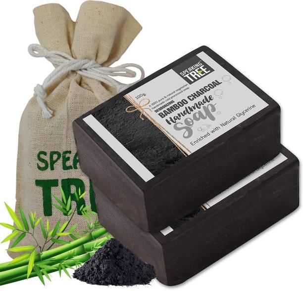 Speaking tree Deodorizing Bamboo Charcoal Handmade Soap - Pack of 2