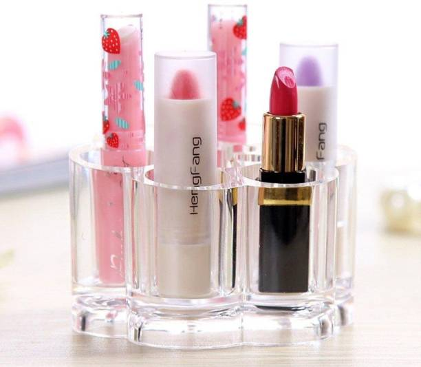 Kanha Flower Shape Acrylic Makeup Cosmetic Organizer, Transparent Makeup (Multi Purpose Organiser )Storage Box 7 Slot Make up make up Vanity Box Lipstick Holder Case Vanity Box