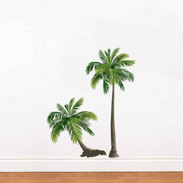 rawpockets Decals ' Pair Coconut Trees ' Large Size Wall Sticker (Wall Coverage Area - Height 80 cms X Width 100 cms )( Pack of 1)