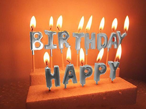 Party Hub Happy Birthday Candle / 1st Birthday Candle / Happy Birthday Candle for Birthday Theme / Happy Birthday Candles for Cake (Silver) Candle