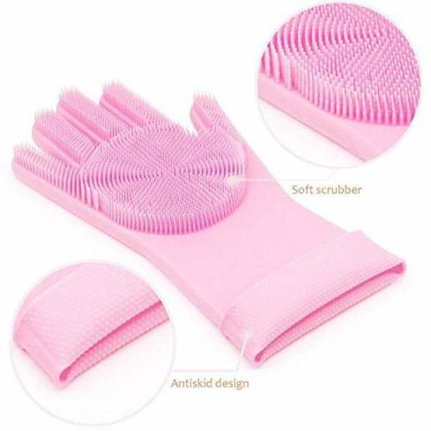 Trend TE-Magic Silicone Dish Washing Gloves, Silicon Cleaning Gloves, Silicon Hand Gloves for Kitchen Dishwashing and Pet Grooming Set (Free Size Pack of 2) (PINK) Wet and Dry Glove