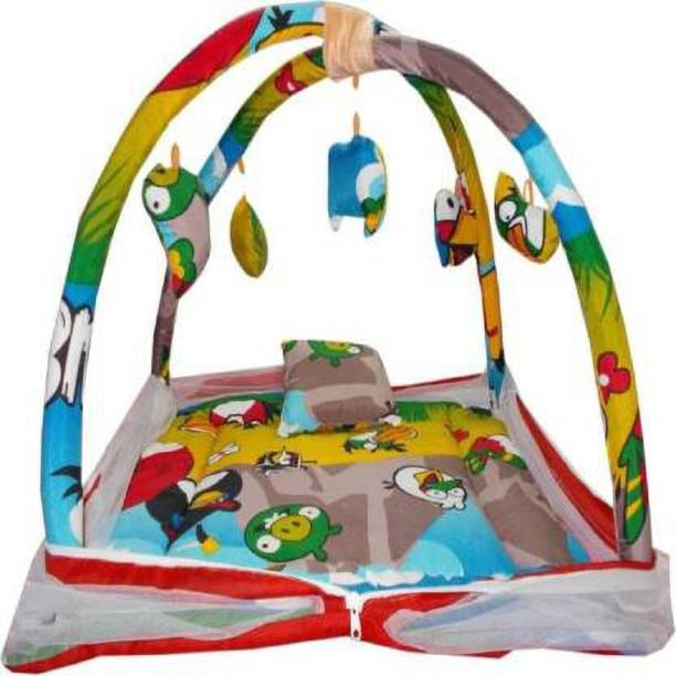 little monkeys Cotton Kids infant baby play gym with multicolor angry bird animated mosquito net with comfortable Pillow (0 - 12 Months Multicolor)