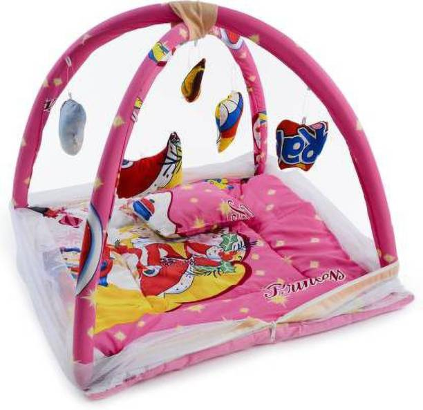 little monkeys Cotton Kids infant baby play gym with barbie princess animated mosquito net with comfortable pillow (Multicolor)(0-12 months)