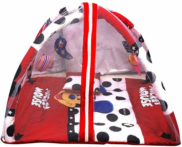 little monkeys Baby Play Gym with Mosquito Net and Pillow and Beautiful rattles Hanged in The Product with lovely Mickey Design (0 to 24 Months) - Exclusive (Red)