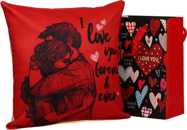 TIED RIBBONS Valentine Day Gift for Girls Boys Boyfriend Girlfriend Husband Wife - Romantic Gift Combo (Valentine Special Cushion Cover With Filler (12 X 12 Inch) and Carry Bag) Assorted Gift Box